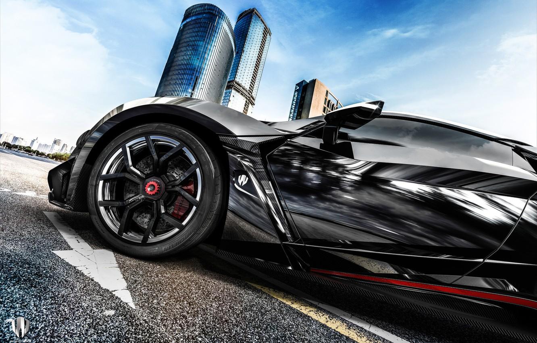Photo wallpaper Auto, Black, Disk, Wheel, Rendering, Supercar, Concept Art, Sports car, SuperSport, Transport & Vehicles, Benoit …