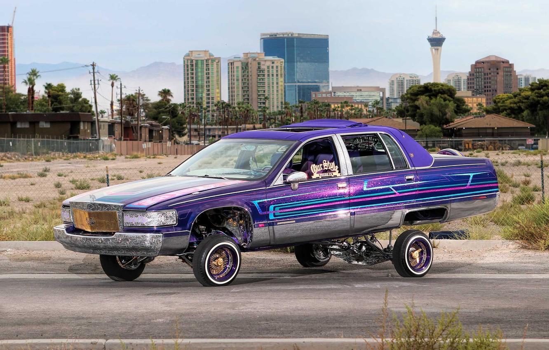 Photo wallpaper Cadillac, Purple, Front, Side, Lowrider, Custom, Fleetwood, Modified