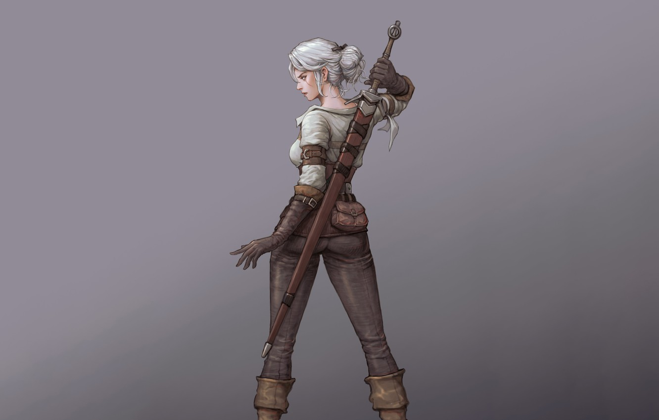Photo wallpaper Girl, Fantasy, Art, Style, Illustration, Witcher, Minimalism, Sword, Ciri, Character, Game Art, Zireael, sanghyun kam