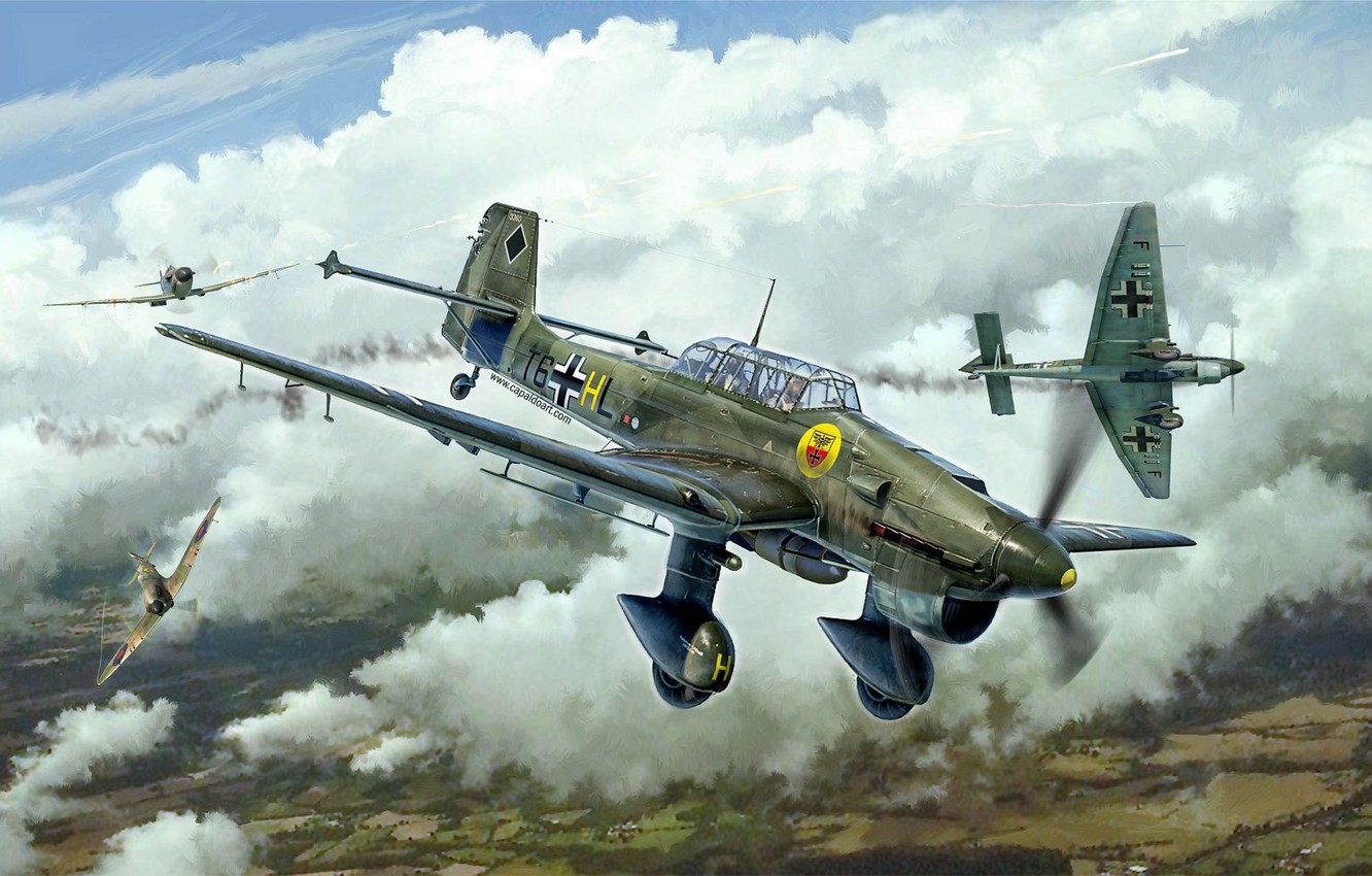 Photo wallpaper Germany, dive bomber, Junkers, Battle of Britain, the Wehrmacht, Luftwaffe, Attack, Junkers Ju 87, Gianluca …