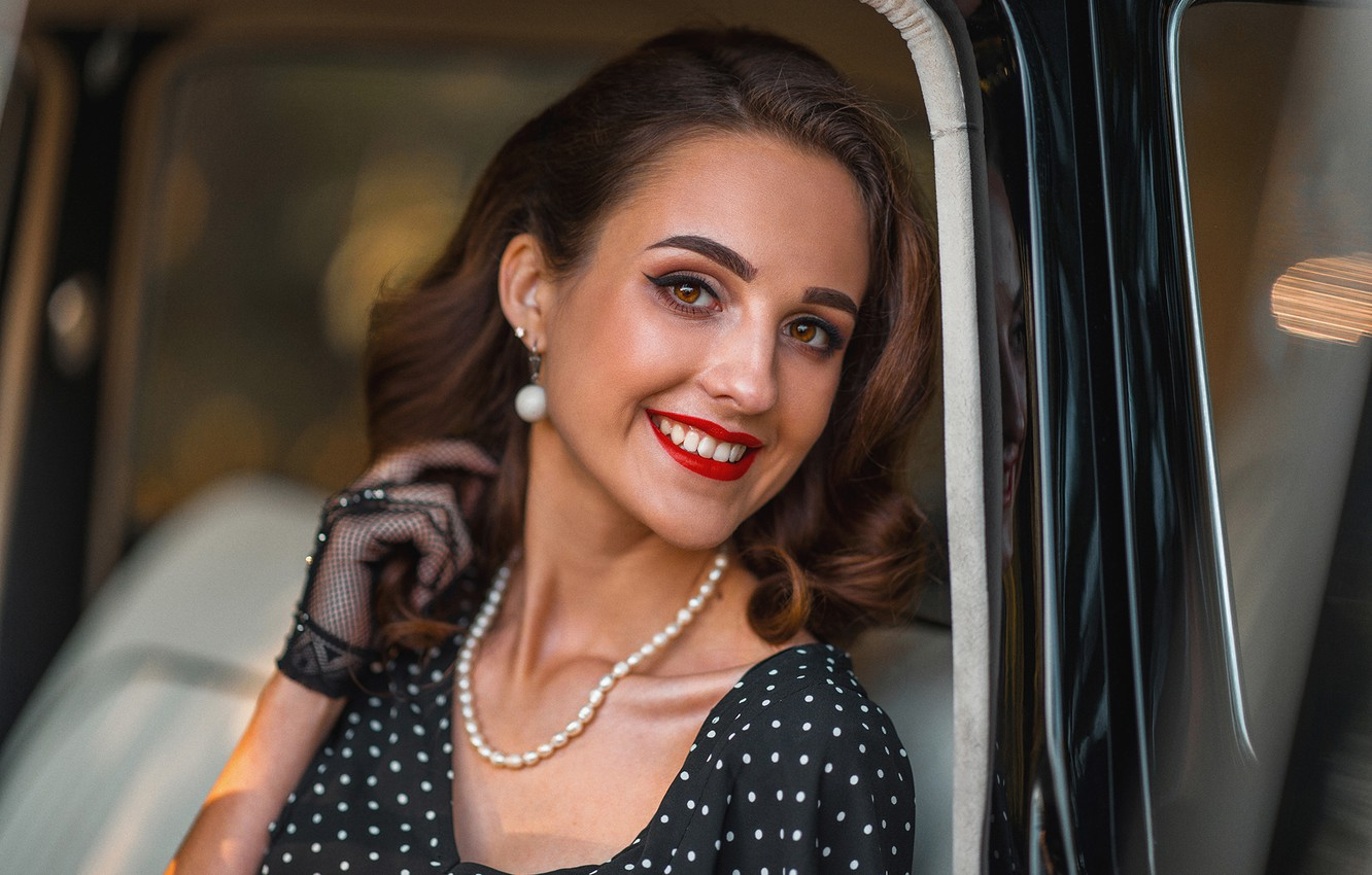 Photo wallpaper look, girl, face, smile, retro, hand, makeup, glove, vintage, Alex Sannikov