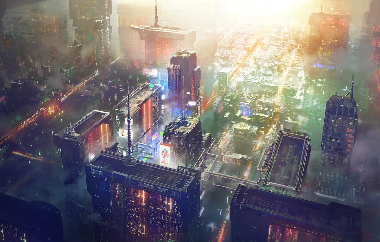 Photo wallpaper Big City, Concept Art, Science Fiction, Cyberpunk, SciFi, Concept Design, sctructure