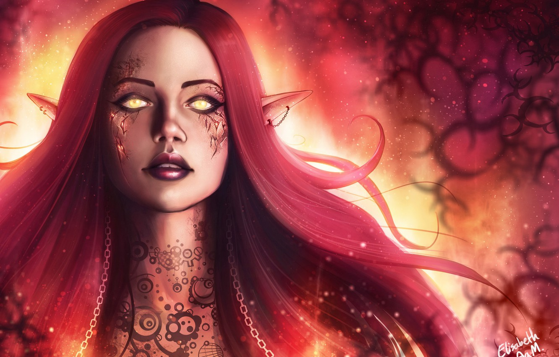 Photo wallpaper Girl, Face, Eyes, Elf, Tattoo, Fantasy, Tattoo, Elf, Art, Fiction, Illustration, Elf, Elisabeth Aarebrot Madsen, …