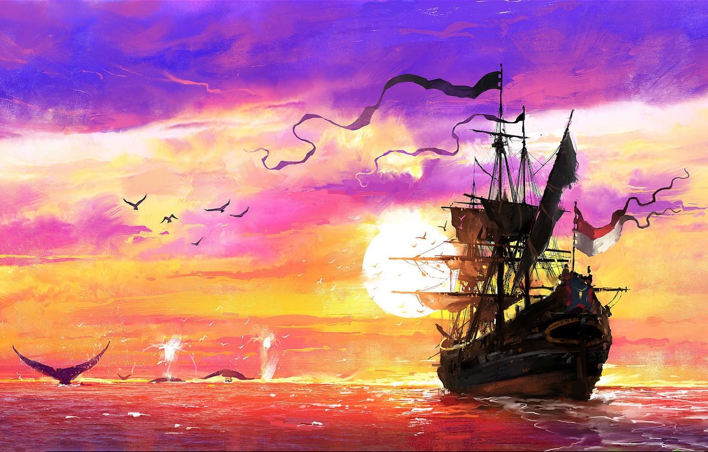 Photo wallpaper Sunset, The ocean, Sea, Ship, Kit, Whales, Concept Art, Dominik Mayer, Environments, The Whaler, Storytelling, …