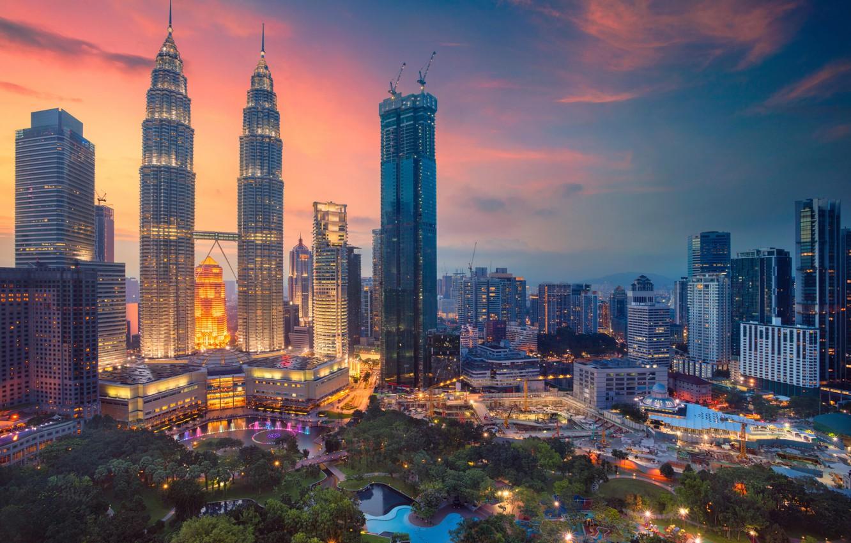 Photo wallpaper night, skyscrapers, panorama, Malaysia, Kuala Lumpur