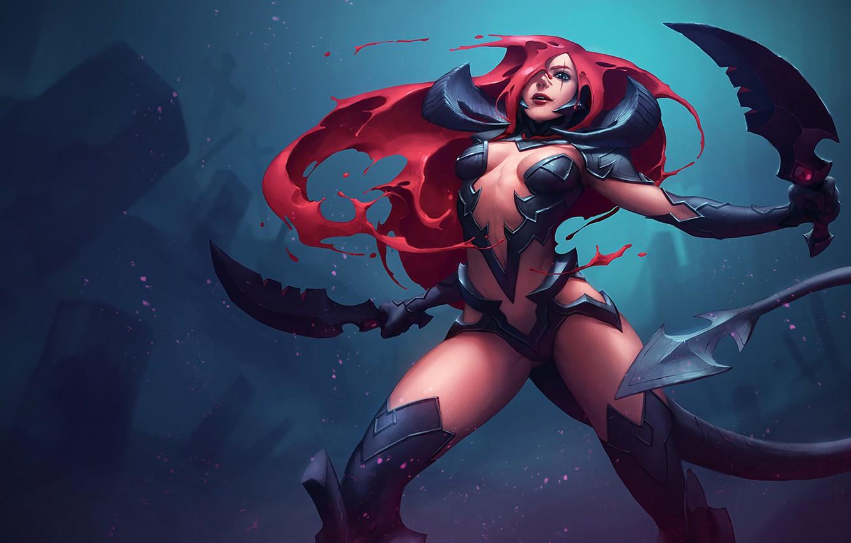 Wallpaper Girl Stand League Of Legends Katarina Red Hair
