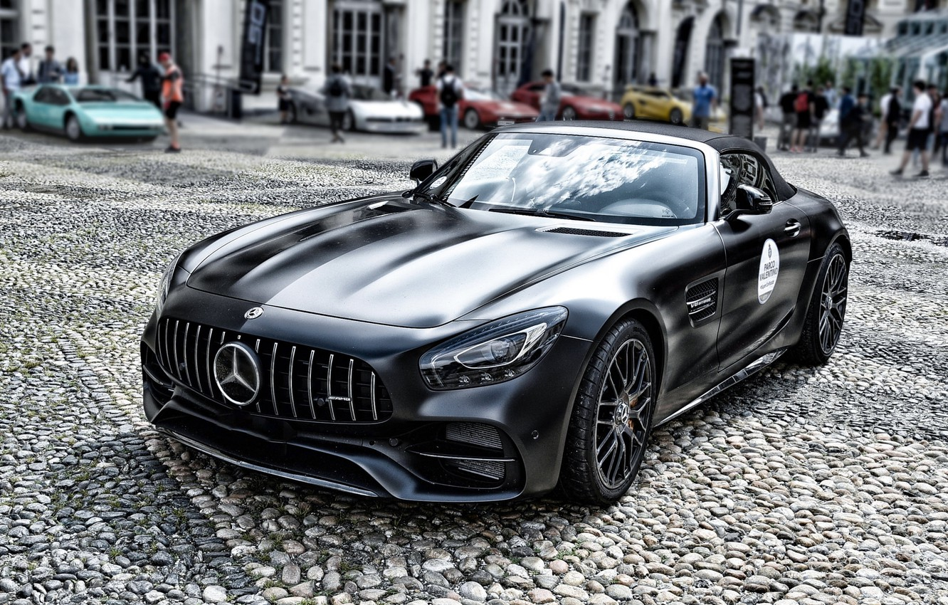 Photo wallpaper black, Roadster, sports car, Mercedes-AMG GT