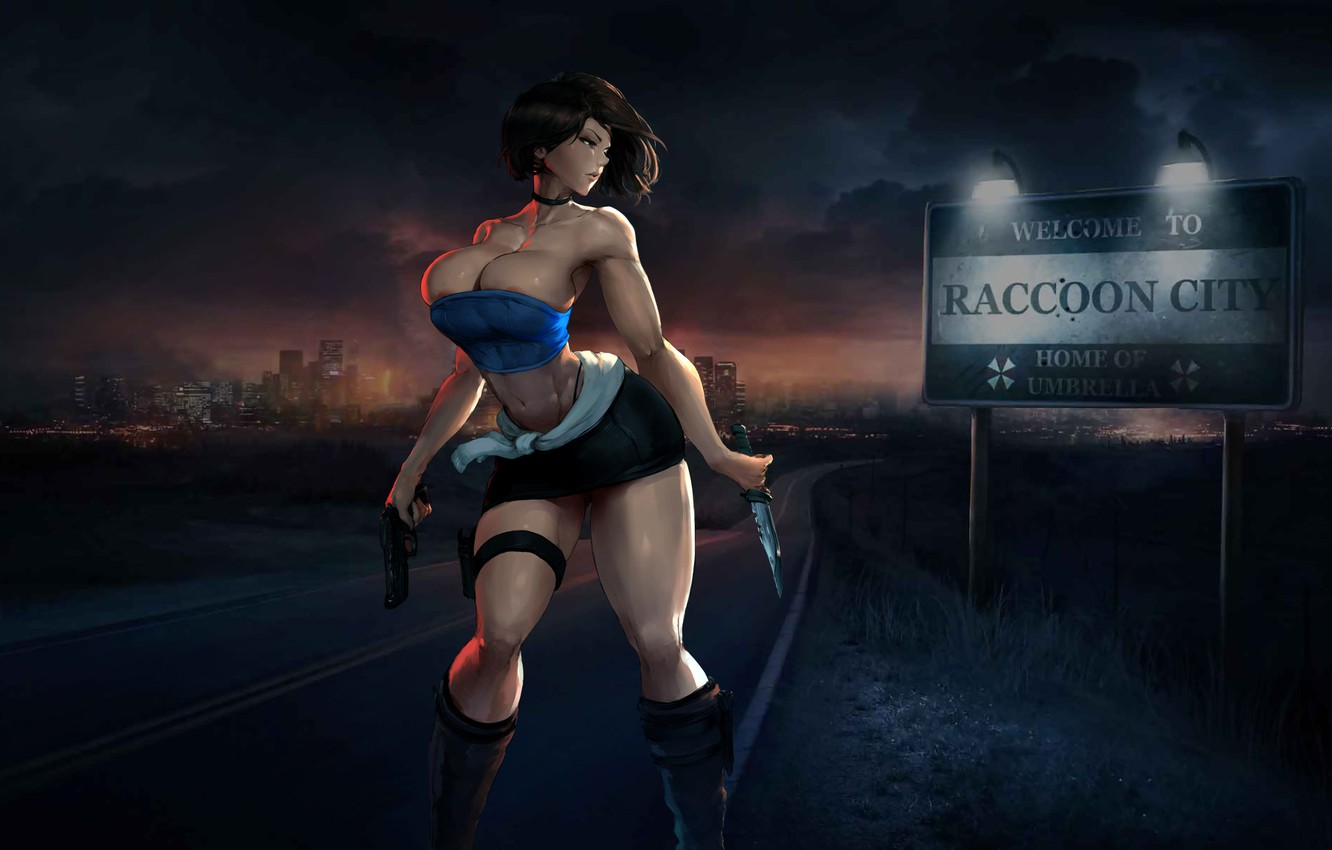 Photo wallpaper Beautiful, resident evil, anime, Game, weapons, knives, raccoon city, hentai, Jill valentine
