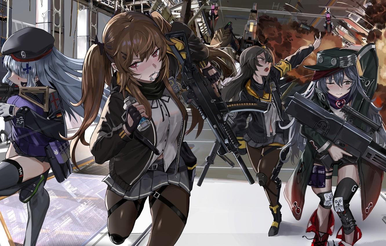 Photo wallpaper weapons, girls, smoke, explosions, run, Girls Frontline, Girls front
