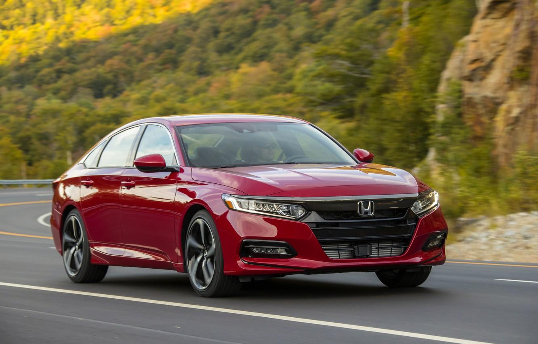 Photo wallpaper road, red, movement, Honda, Accord, sedan, 2018, four-door, 2.0T Sport