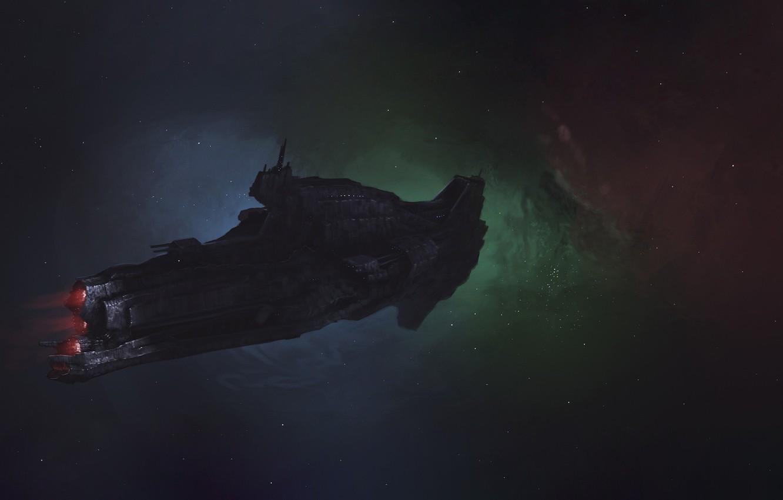 Photo wallpaper Stars, Space, Ship, Art, Fiction, Battleship, Dmitrii Ustinov, by Dmitrii Ustinov, Space Battleship, SpaceArt