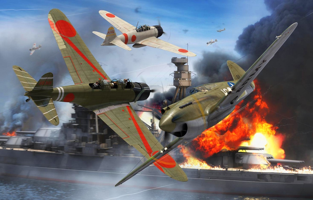 Photo wallpaper Japan, Fighter, Pearl Harbor, P-40 Warhawk, B5N2, Combat aircraft, A6M Reisen, A6M2 Zero, Carrier-based bomber, …