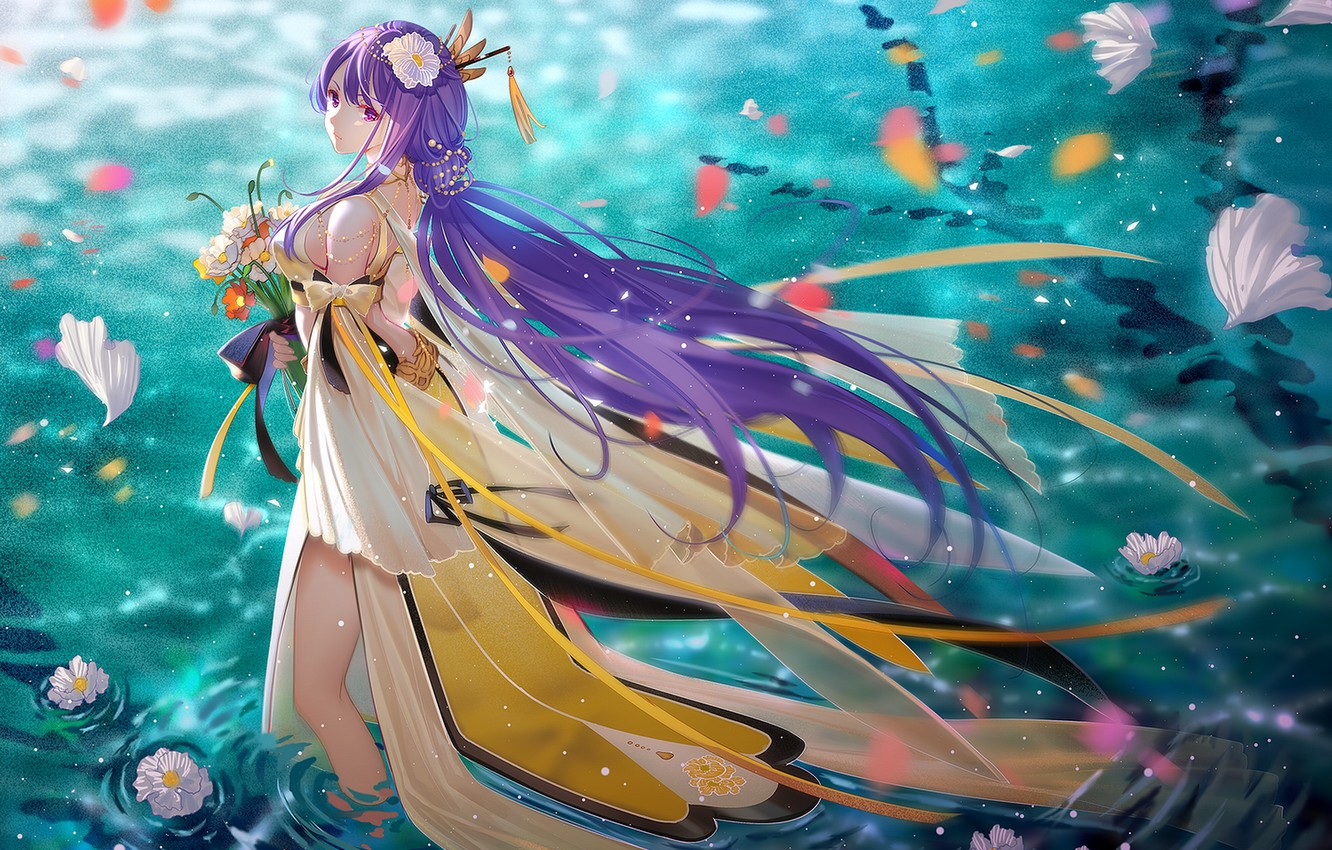 Photo wallpaper water, girl, flowers, the evening, Vocaloid, long hair, TID