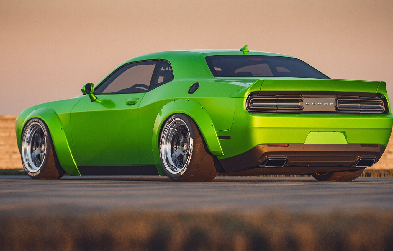 Photo wallpaper Auto, Green, Machine, Dodge Challenger, SRT, Muscle, Transport & Vehicles, by Cameron Parmer, Cameron Parmer, …