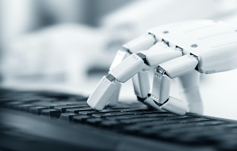 Photo wallpaper robot, computer, fingers