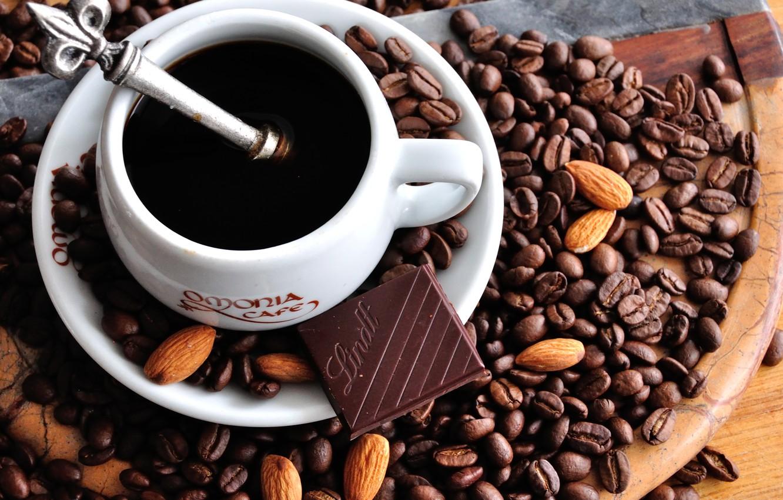 Photo wallpaper coffee, chocolate, mug, Cup, coffee beans, saucer, almonds