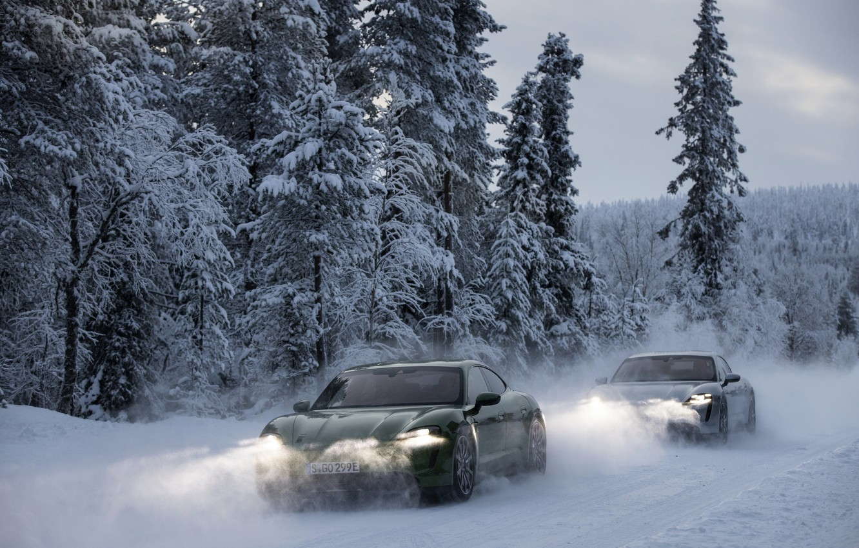 Photo wallpaper snow, Porsche, headlights, 2020, Taycan, Taycan 4S