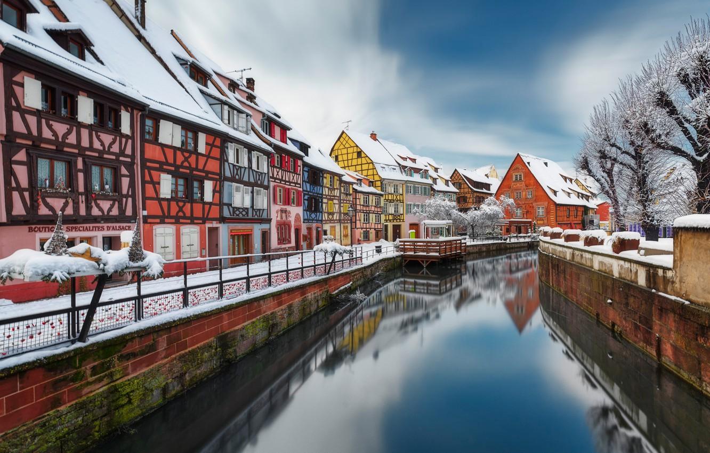 Photo wallpaper winter, river, France, building, home, promenade, France, Colmar, Colmar, Little Venice, Lauch River, Река Лош