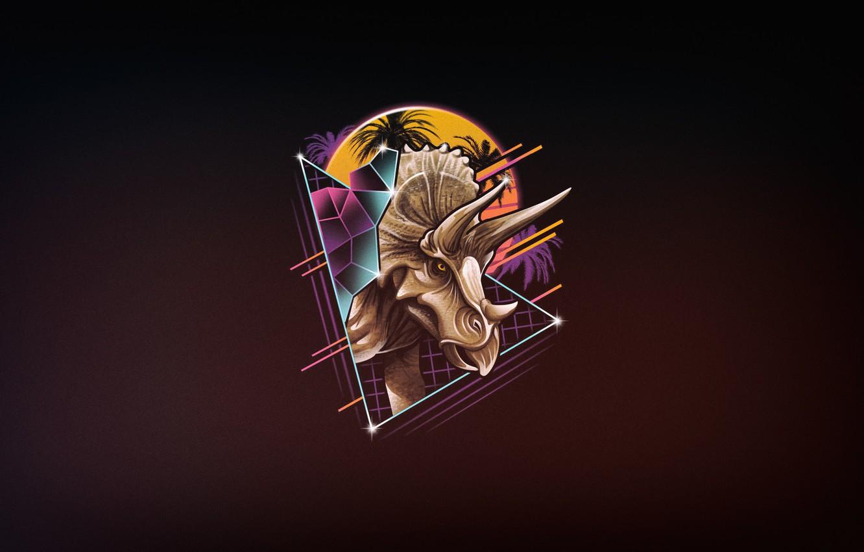 Photo wallpaper Minimalism, Figure, Dinosaur, Art, 80s, Neon, Triceratops,