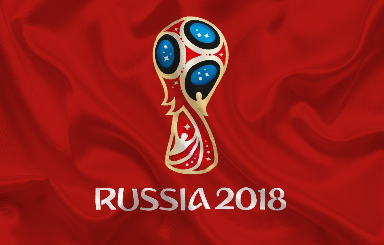 Photo wallpaper sport, logo, Russia, football, soccer, World Cup, FIFA, red background, FIFA World Cup, official logo, …