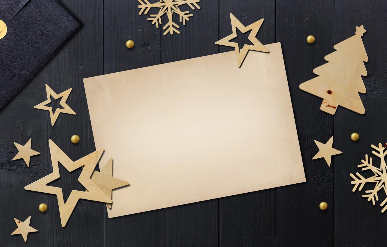 Photo wallpaper winter, snowflakes, golden, black background, black, Christmas, winter, background, stars, snowflakes