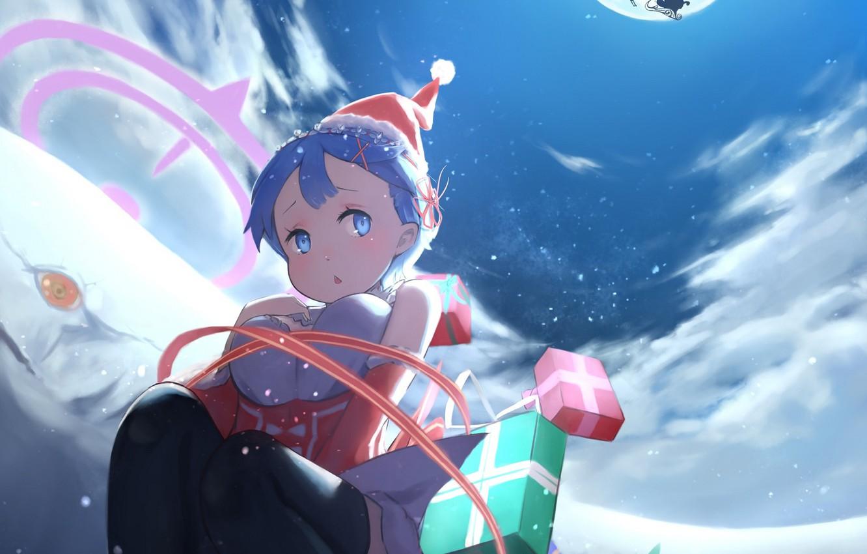 Photo wallpaper night, new year, Christmas, deer, girl, gifts