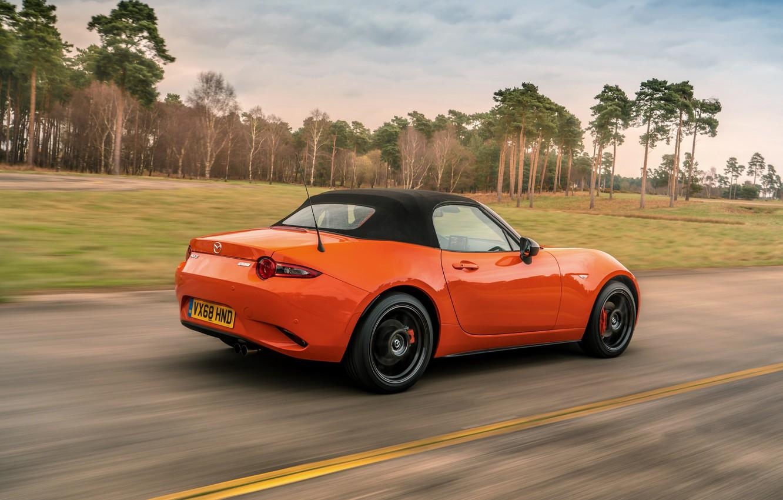 Photo wallpaper orange, Mazda, Roadster, MX-5, 30th Anniversary Edition, the soft top, 2019