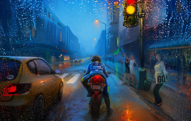 Photo wallpaper Art, Street, Rain, Bike