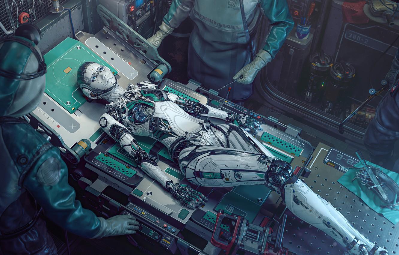 Photo wallpaper robot, woman, art, man, hi-tech, cyberpunk, doctor, technology, cientist