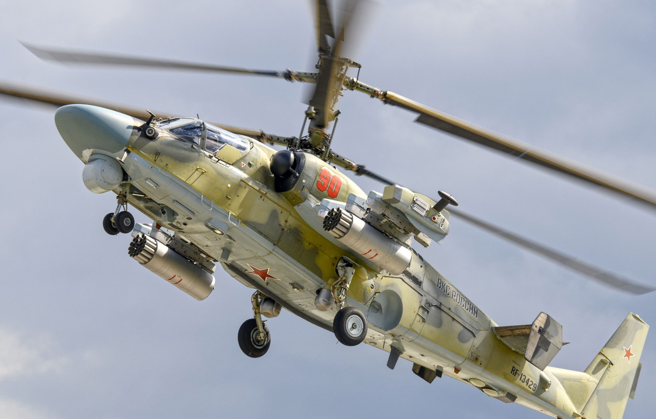 Photo wallpaper Videoconferencing Russia, Ka-52 Alligator, Ka-52, reconnaissance and attack helicopter