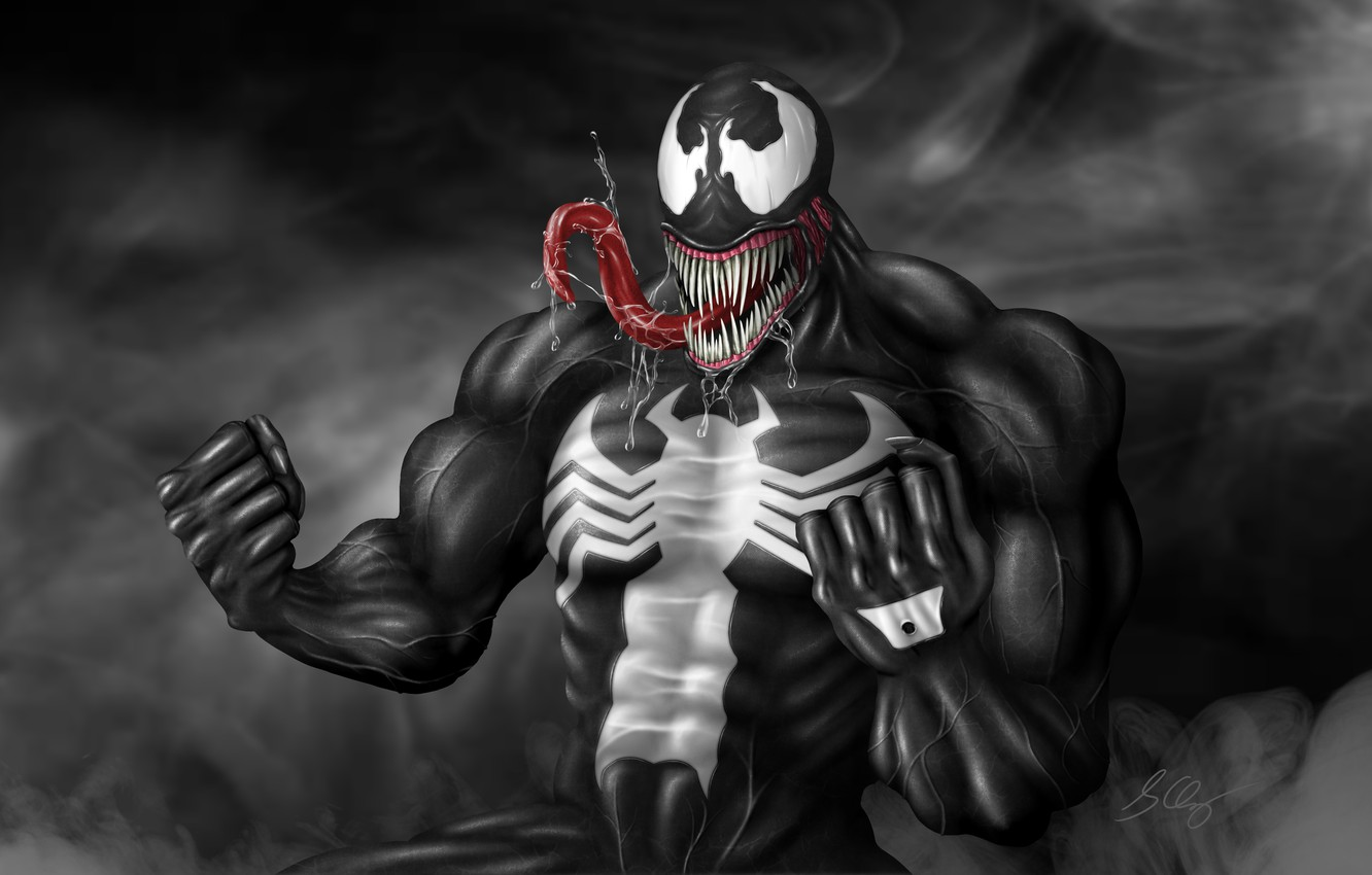 Photo wallpaper language, saliva, fists, Venom, Venom, symbiote, 3D graphics