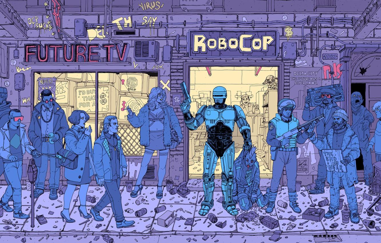 Photo wallpaper Robot, Gun, Robots, Street, Police, People, Girl, Fantasy, Art, Art, Robot, Robots, Fiction, Robocop, Cyborg, …
