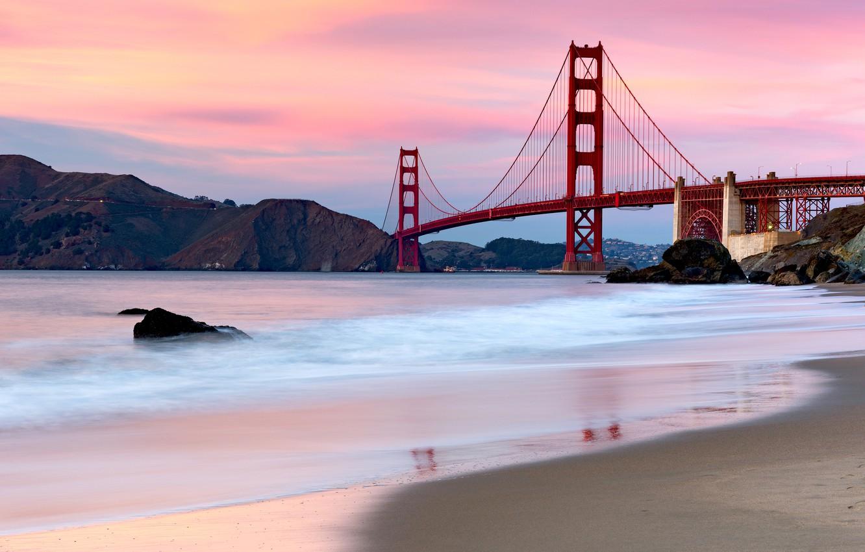 Wallpaper Sea Sunset Bridge Strait The Evening San Francisco Golden Gate Golden Gate Bridge San Francisco Images For Desktop Section Pejzazhi Download