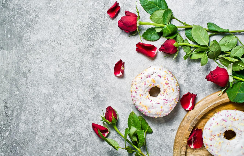 Photo wallpaper flowers, roses, petals, donuts, cakes, glaze