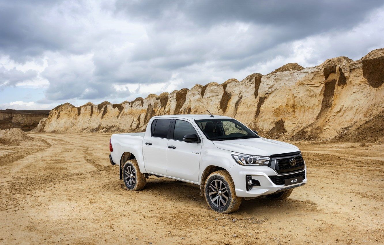 Photo wallpaper sand, white, the sky, Toyota, pickup, Hilux, Special Edition, quarry, 2019
