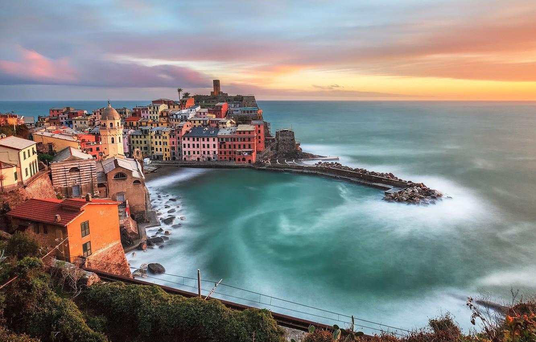 Photo wallpaper sea, home, Bay, Italy, panorama, Vernazza