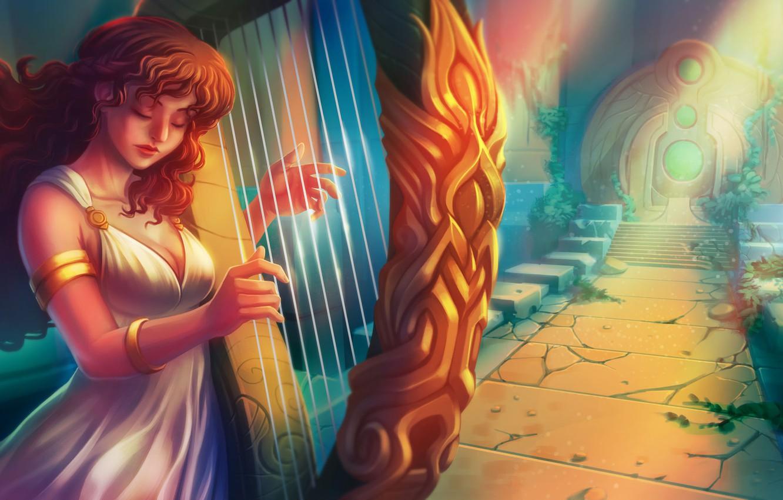 Photo wallpaper girl, harp, fantasy
