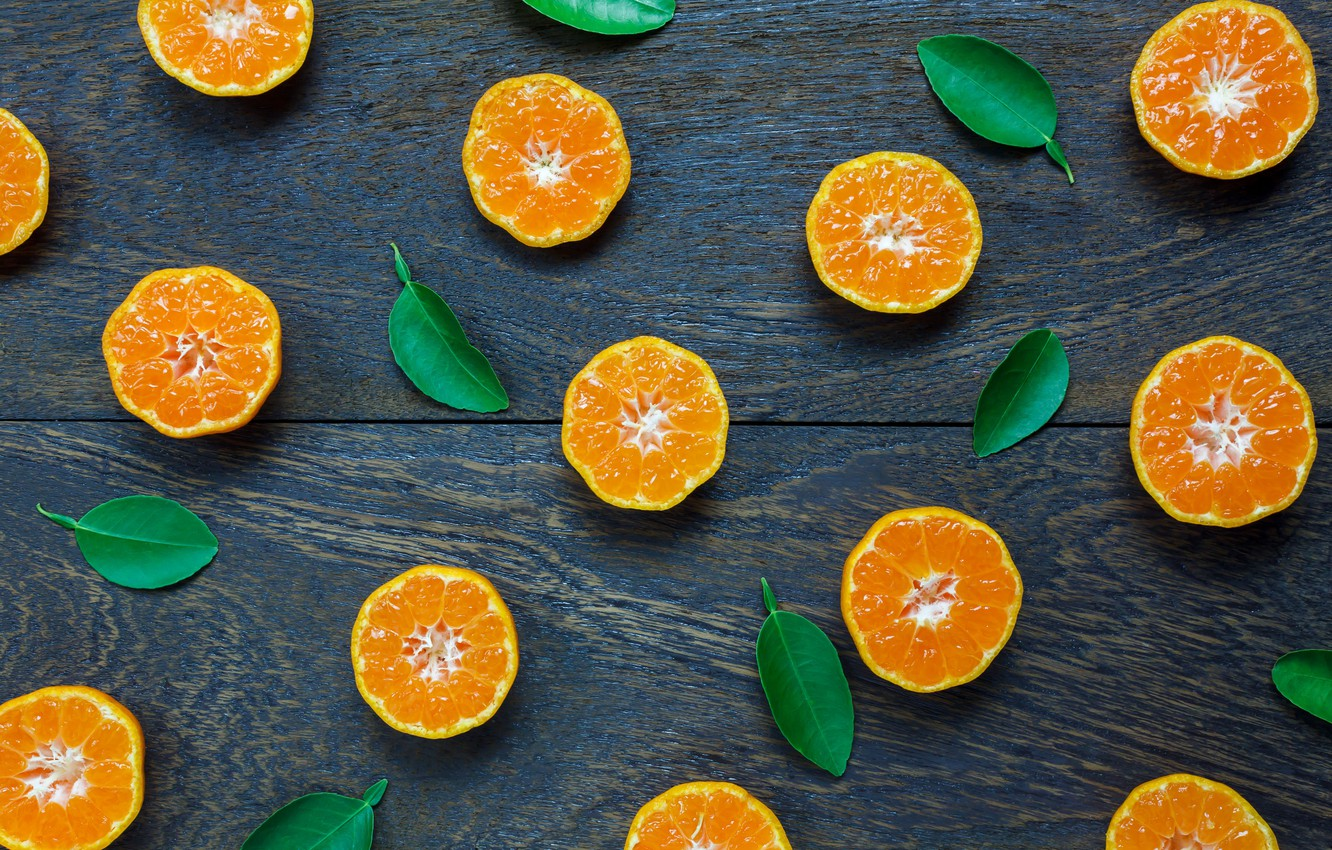 Photo wallpaper leaves, orange, background, slices, background, fruit, orange,