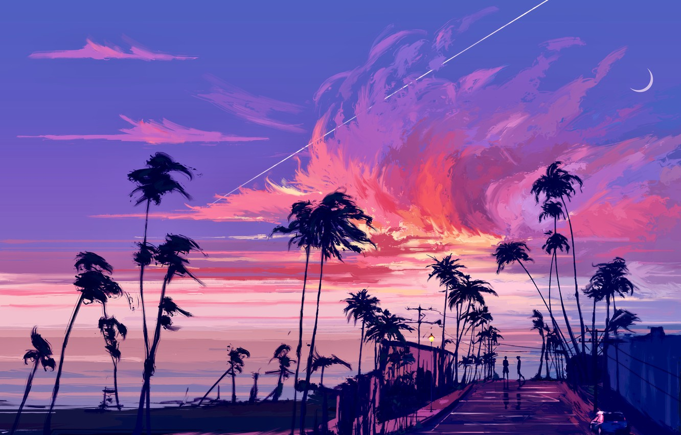 Photo wallpaper sea, the sky, palm trees, people, Crescent