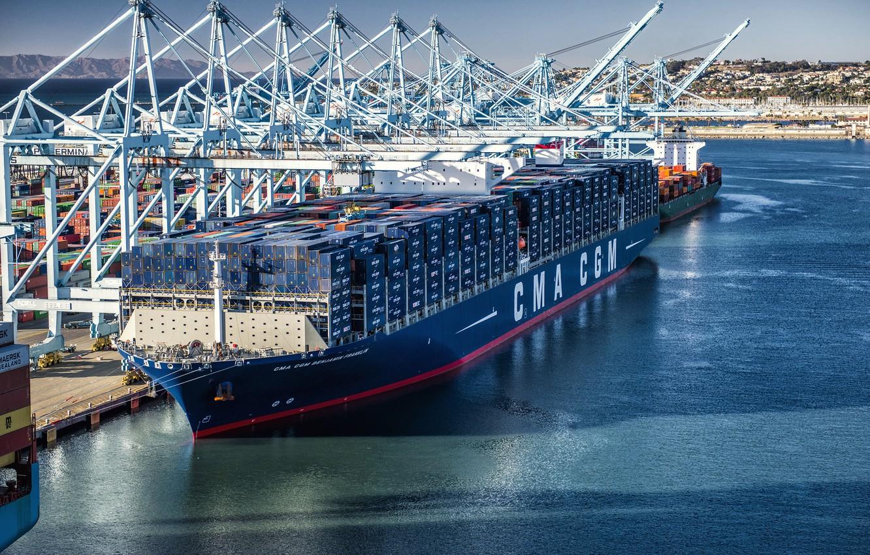 Photo wallpaper The ship, Benjamin Franklin, A container ship, Cranes, Port, CMA CGM, Vessel, Container Ship, CMA …