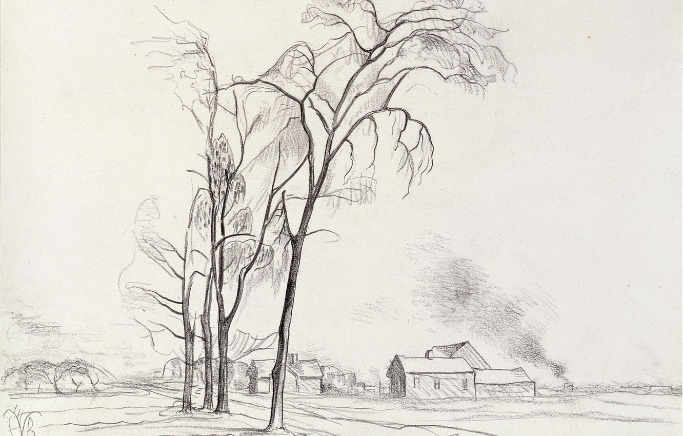 Photo wallpaper 1927, Charles Ephraim Burchfield, Young Elms