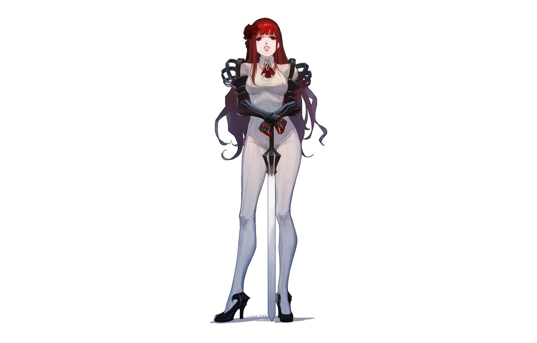 Photo wallpaper girl, sword, cyborg