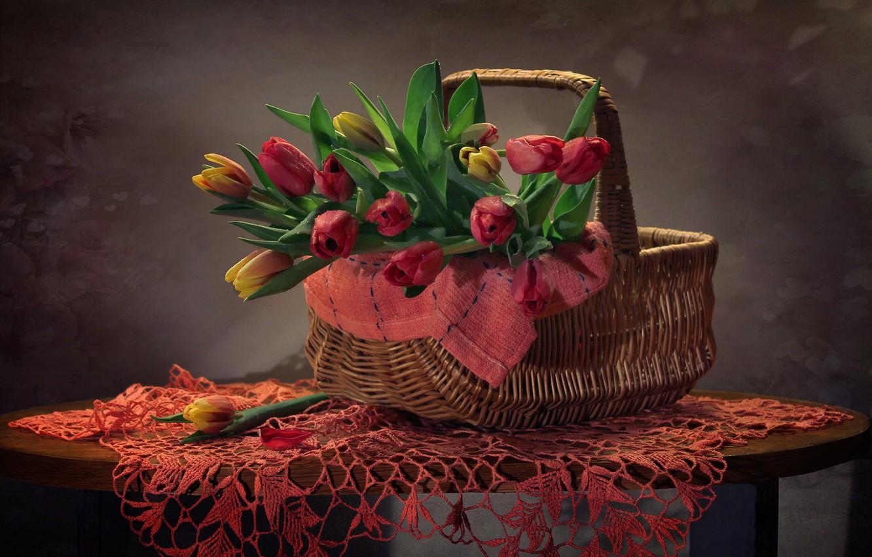 Photo wallpaper background, basket, tulips, basket, napkin