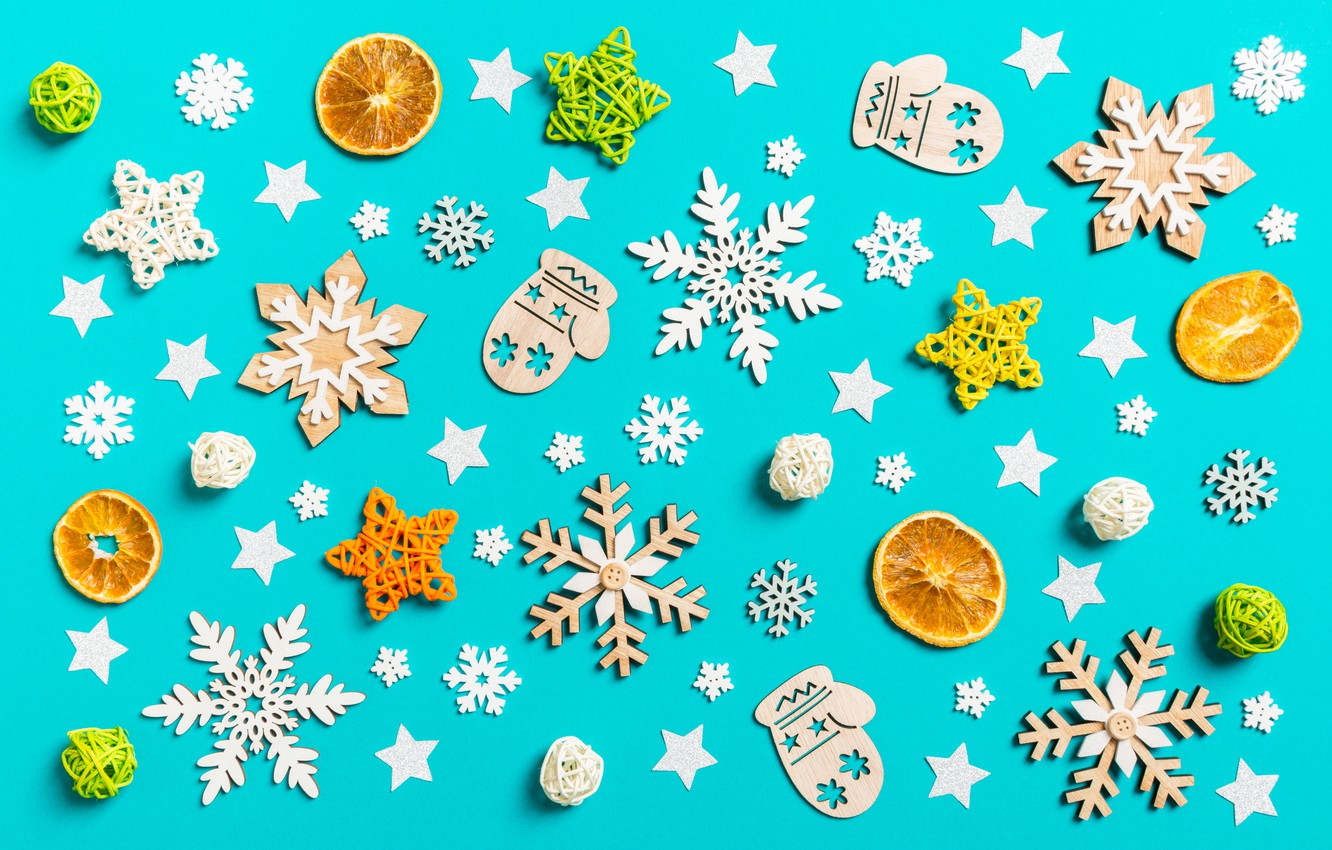Photo wallpaper snowflakes, background, toys, New year, figures, Ornament