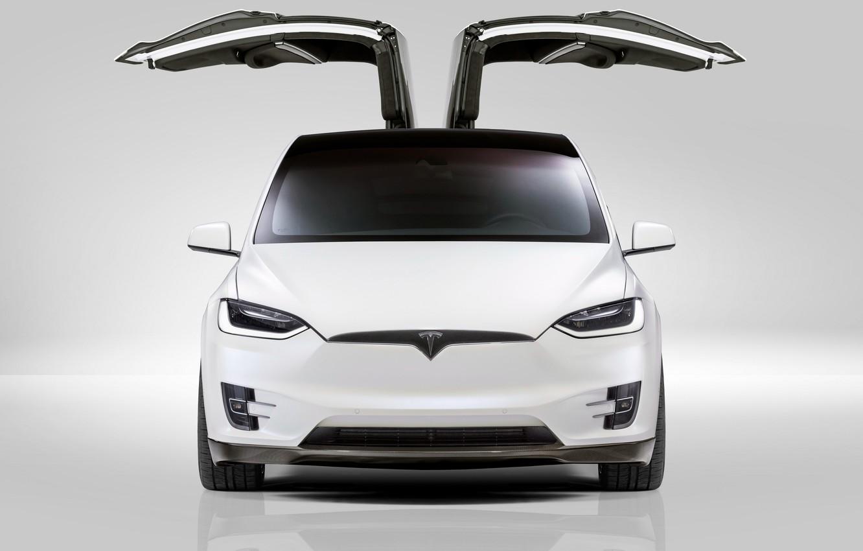 Photo wallpaper front view, Tesla, Model X, Novitec, 2017