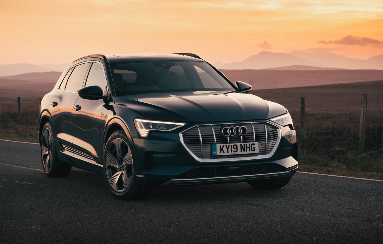 Photo wallpaper sunset, Audi, the evening, crossover, E-Tron, 2019, electrocreaser
