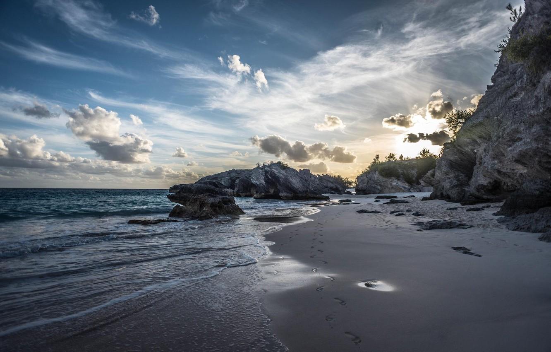 Wallpaper Sunset The Sky Water Sand Clouds Sea Beach