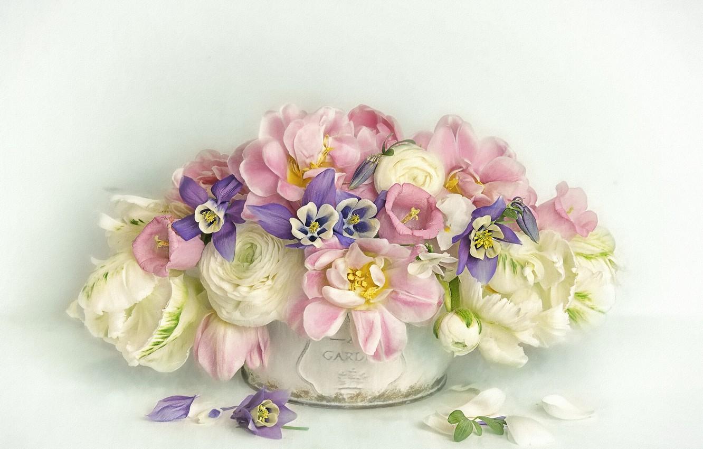 Photo wallpaper flowers, bouquet, petals, art, tulips, pot, pink, white, still life, painting, bells, light background, different, …