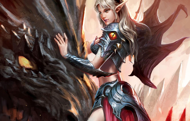 Photo wallpaper girl, fantasy, horns, armor, wings, dragon, artwork, fantasy art, Elf, creature, armored, fantasy girl, pointed …