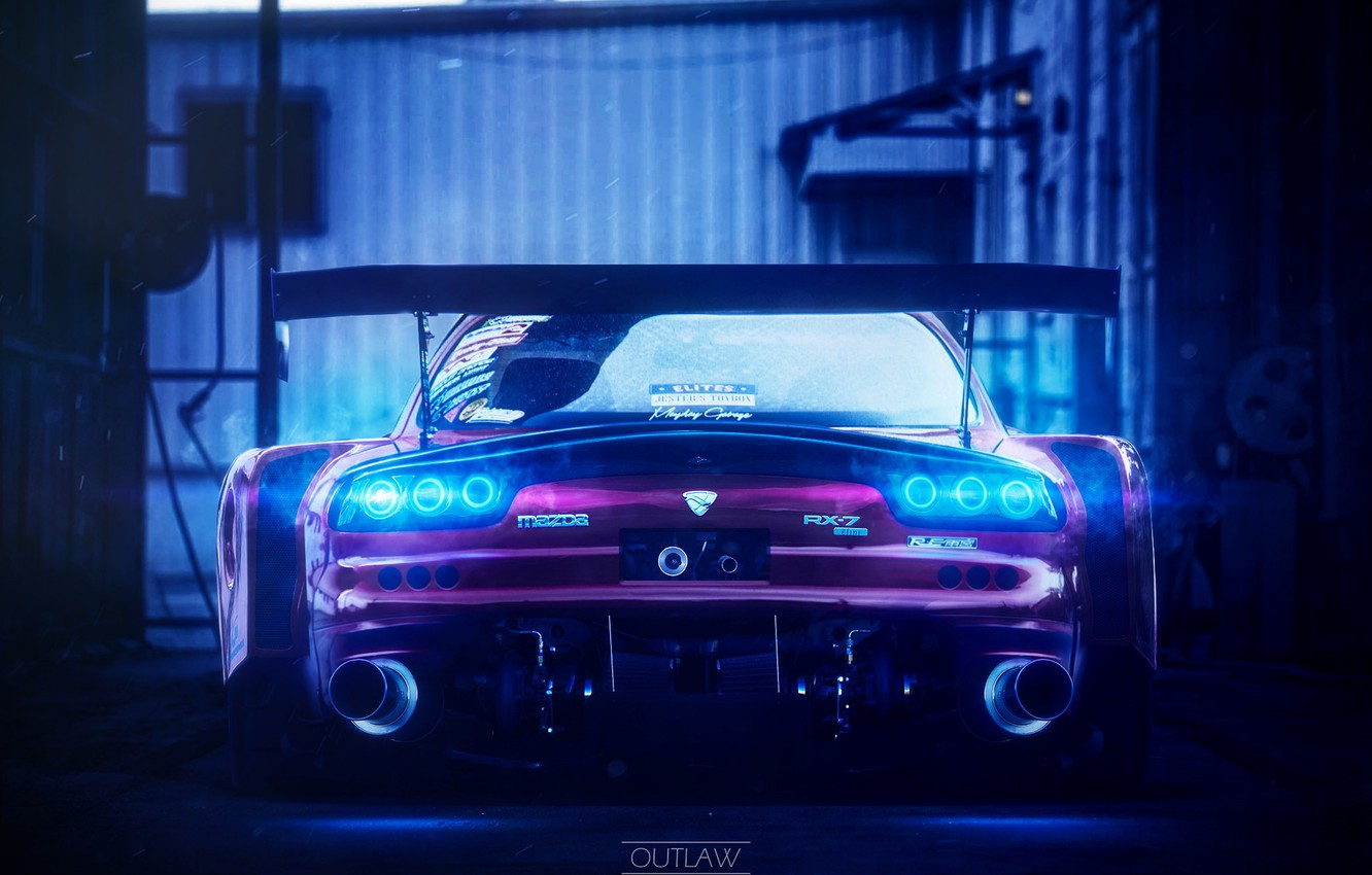 Photo wallpaper Auto, Machine, Mazda, Car, Mazda RX-7, Outlaw, Ned Souris, Transport & Vehicles, by Ned Souris, …